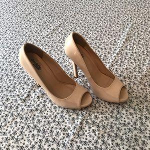 Neutral open toe high heels